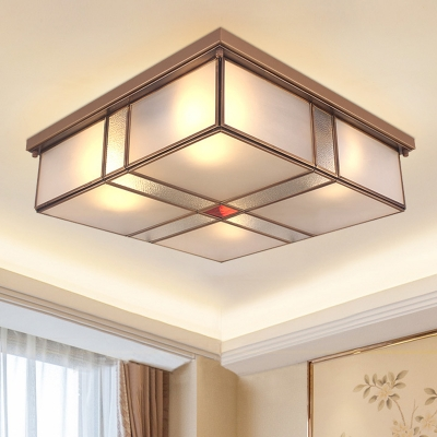 Brass 2/4 Lights Flushmount Light Traditional Frosted Glass Square Ceiling Flush Mount for Bedroom