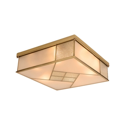Brass 4/6 Lights Ceiling Mount Classic Frosted Glass Panel Square Flush Light Fixture for Bedroom