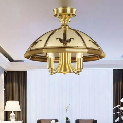 Brass 5 Heads Semi Flush Light Traditional Sandblasted Glass Oval/Sheep Ceiling Fixture for Living Room