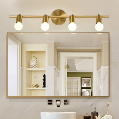 Brass Linear Vanity Sconce Traditional Metal 2/3/4-Bulb LED Bathroom Wall Mounted Light