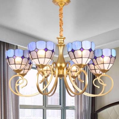 Domed Chandelier Lighting Mediterranean Frosted Glass 8 Lights Gold Ceiling Pendant for Bedroom, HL582053