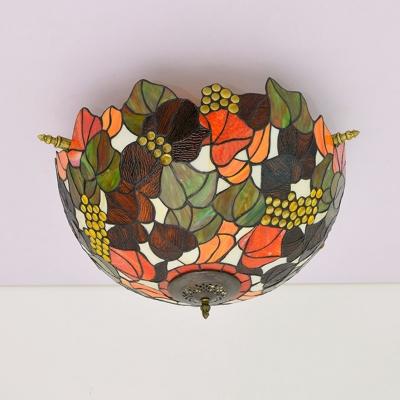 Flower Ceiling Flush Tiffany-Style Stained Art Glass 5 Heads Brass Flush Mount Lighting Fixture
