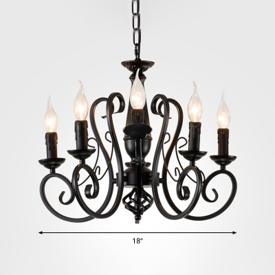 Metal Candle Hanging Chandelier Traditionary 3/4/5 Bulbs Ceiling Pendant Light in Black with Adjustable Chain
