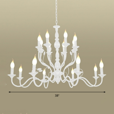 Metal White Ceiling Chandelier 2-Tier 10/12/16 Heads Traditionary Hanging Pendant Light