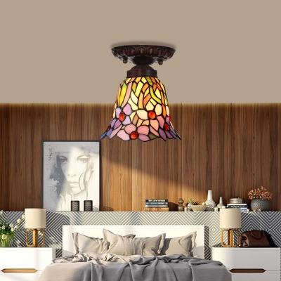 Pink/Blue Cut Glass Floral Flush Mount Light Fixture Mediterranean 1 Light Bronze Ceiling Lighting for Corridor