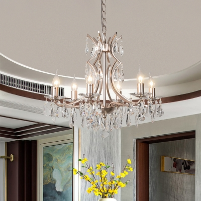 Satin Nickel Droplet Ceiling Chandelier Contemporary 6 Heads Crystal Hanging Pendant Light for Living Room