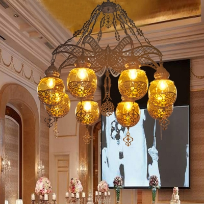 Sphere Yellow Glass Chandelier Lighting Moroccan 3/6/8 Lights Dining Room Ceiling Lamp