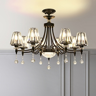 Tapered Chandelier Lamp Contemporary Crystal 3/6/8 Heads Black Hanging Ceiling Light with Teardrop for Bedroom, 23.5