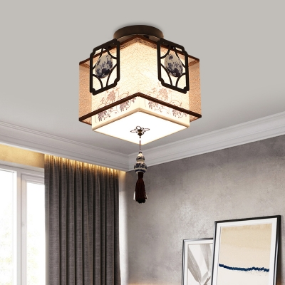 Traditional Square Ceiling Mounted Light 1 Bulb Fabric Flush Mount Light Fixture in Black