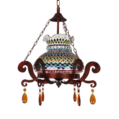 Vase Dining Room Ceiling Pendant Rustic Stained Glass 1 Head Antique Copper Hanging Light Fixture