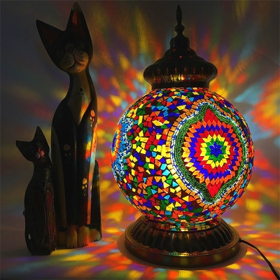 1 Bulb Nightstand Light Art Deco Round Stained Glass Shade Night Table Lamp in Yellow/Purple