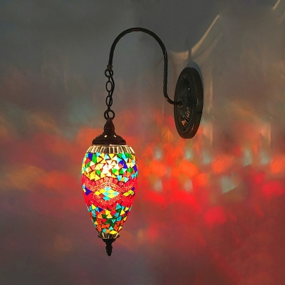 1 Bulb Teardrop Wall Lighting Art Deco Red/Orange/Green Stained Glass Wall Sconce Lamp with Gooseneck Arm