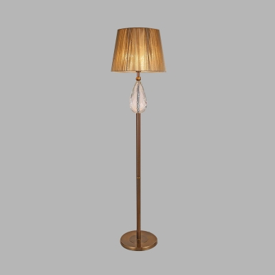 Beige 1 Bulb Standing Light Antique K9 Crystal Conical Floor Lamp for Living Room