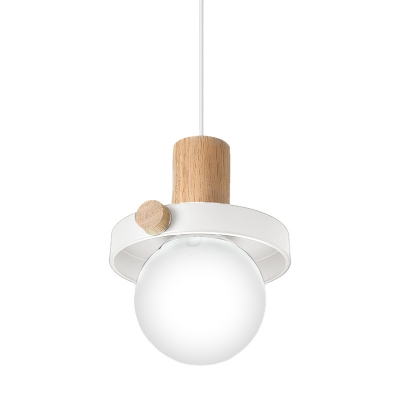 Contemporary 1 Head Ceiling Light Ball Grey/White Pendant Lighting Fixture with White Glass Shade