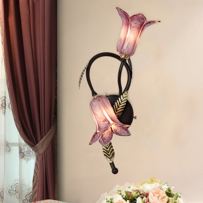 Flared White/Purple Glass Sconce Traditionalism 2 Heads Living Room Wall Light Fixture in Gold/Black