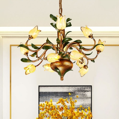 Frosted Glass Brass Hanging Chandelier Floral 12 Lights Countryside Down Lighting Pendant for Bedroom