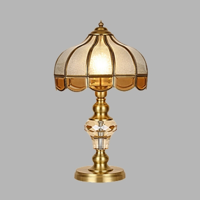 Gold 1 Light Table Lamp Colonial Beveled Crystal Cone/Bell/Dome Nightstand Light with Frosted Glass Shade