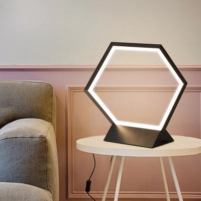 Minimalist LED Task Lighting Black/Gold Hexagon Small Desk ...