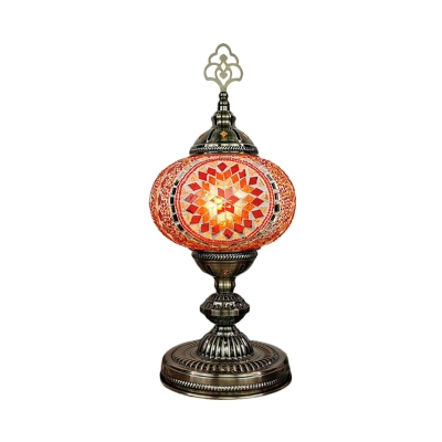 Oval Stained Glass Shade Table Light Vintage 1 Head Living Room Night Lamp in Red/Blue/Beige