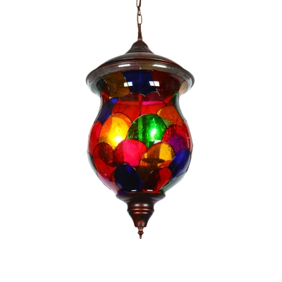Red Jar Hanging Ceiling Light Traditionalist Stained Glass 1 Head Living Room Suspension Lamp