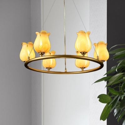 Traditional Blossom Chandelier Lighting Fixture 6 Heads White/Yellow Glass LED Pendant Ceiling Light