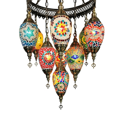 Vintage Urn Chandelier Pendant 10 Heads Blule-Yellow-Green-Pink Stained Glass Hanging Light Fixture