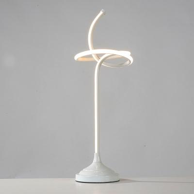 White Swirly Nightstand Lamp Contemporary LED Acrylic Task Lighting in White/Warm Light
