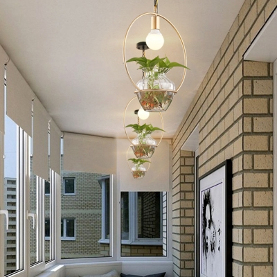 1 Head Art Plant Deco Ceiling Light Industrial Round Metal Pendant Lighting in White/Gold