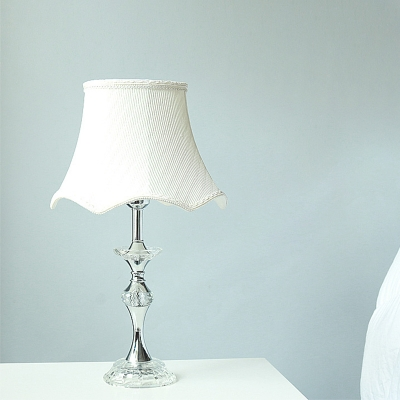 1 Head Candlestick Table Lamp Traditional Clear Crystal Nightstand Light with White Fabric Shade