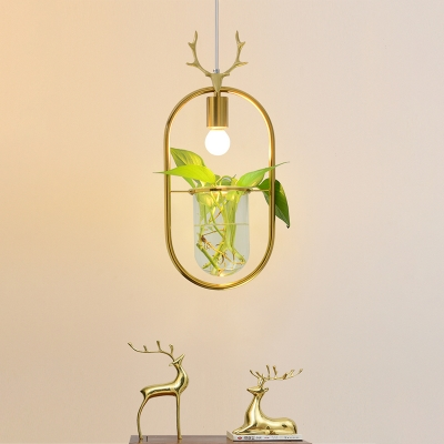Gold Oval Frame Pendant Light Kit Industrial Metal 1 Head Dining Room Suspension Lighting with Plant Deco