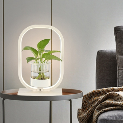 Industrial Oval Night Table Lamp LED Metal Nightstand Light in Black/Grey/White without Plant for Living Room