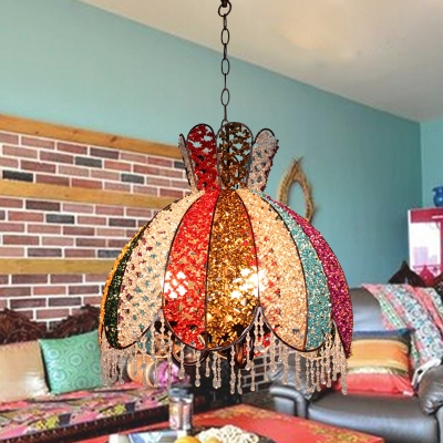 Metal Scalloped Chandelier Light Fixture Decorative 3 Lights Living Room Hanging Lamp in White/Red/Yellow