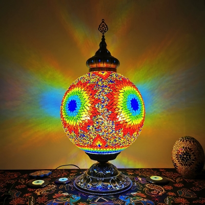 Yellow Sphere Table Lighting Traditional Stained Glass 1 Light Living Room Night Lamp