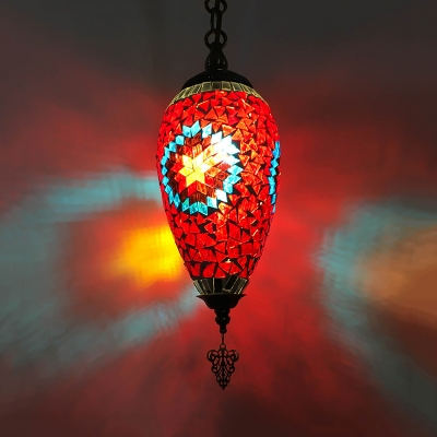 1 Bulb Hanging Light Kit Antiqued Coffee House Suspension Pendant Lamp with Urn Red/Yellow/Blue Stained Glass Shade