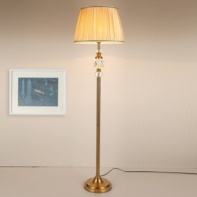 1 Head Barrel Floor Lamp Vintage Beige Fabric Standing Light with Crystal Accent for Living Room