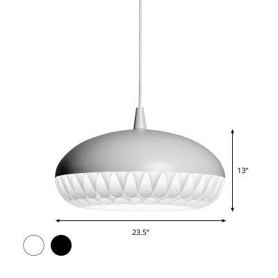 1 Head Living Room Ceiling Light Modern Black/White Pendant Lighting Fixture with Hat Metal Shade