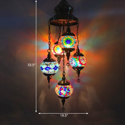 5 Bulbs Pendant Chandelier Traditional Restaurant Suspension Lamp with Oval Red/Orange/Blue Stained Glass Shade