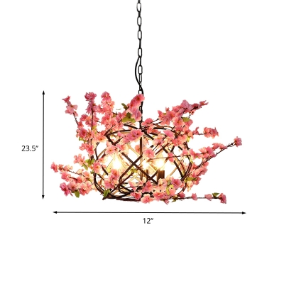 Antique Bird Nest Ceiling Chandelier 3 Bulbs Metal Flower Drop Lamp in Pink for Restaurant