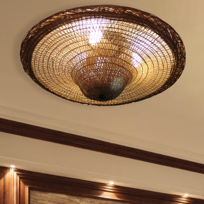 Bamboo Hand Twisted Flush Mount Japanese 4 Bulbs Beige Close to Ceiling Lighting