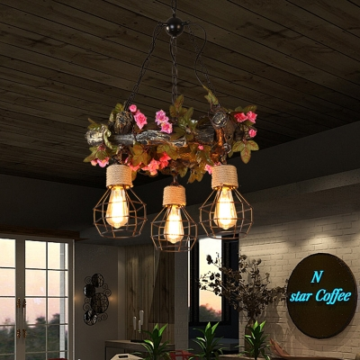 Exposed Bulb Restaurant Chandelier Industrial Resin 3 Bulbs Red/Pink/Green LED Drop Lamp with Flower/Plant/Maple Leaf