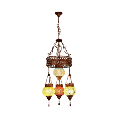 Lantern Restaurant Ceiling Chandelier Traditional Stained Glass 4 Heads Copper Suspension Lighting Fixture