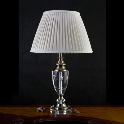 Single Head Nightstand Light Simplicity Bedroom Table Lamp with Urn Shape Crystal in Cream Gray HL586228 фото