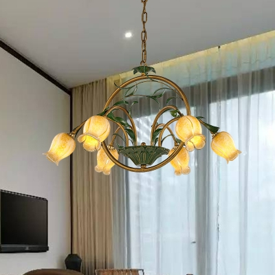 Traditional Flower Hanging Pendant 6 Heads White/Yellow/Purple Glass Chandelier Lighting Fixture for Dining Room