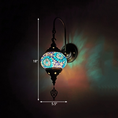 1 Bulb Stained Glass Wall Mount Lamp Tradition Style Yellow/Green/Gold Lantern Coffee House Sconce Light Fixture