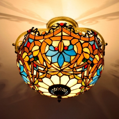 2/3 Lights Semi Mount Lighting Tiffany Flower Stained Glass Ceiling Mounted Fixture in Brown