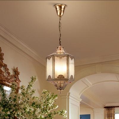 3 Heads Hexagonal Chandelier Lighting Decorative Metal Pendant Light Fixture in Brass