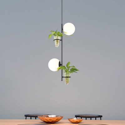 Globe Dining Table Pendant Light Fixture Industrial Milk White/Smoke Grey Glass 2 Heads Gold/Black Chandelier Light with Plant Deco