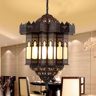 Metal Black Chandelier Lighting Lantern 3 Heads Traditional Ceiling Suspension Lamp