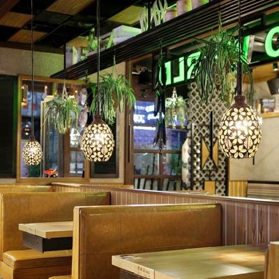 Metal Dome Drop Pendant Antique 1 Light Restaurant Hanging Light Fixture in Yellow/Blue/Green