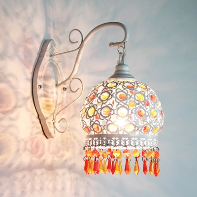 Metal Dome Sconce Decorative 1 Bulb Wall Mounted Light Fixture in Blue/Green/Orange with Acrylic Teardrop